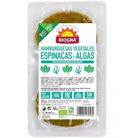 Hamburguesa Espinacas Algas Ecológico 2x80gr. Biográ