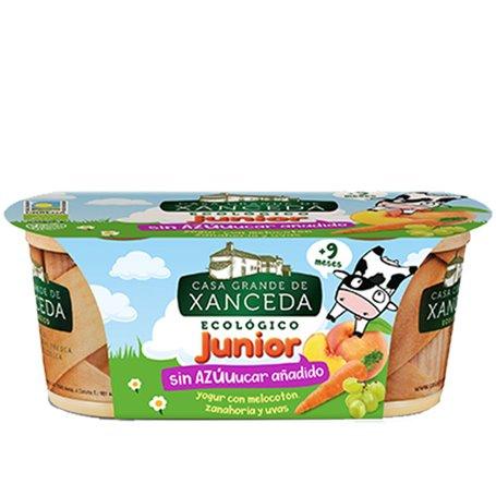 Yogur Junior Melocotón sin azucar añadido Ecológico 2x125 gr. Casa Xanceda