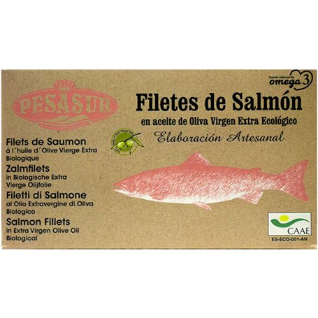 Filetes Salmón salvaje Oliva Virgen Extra Bio 120 gr. Pesasur