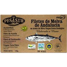 Filetes Melva Oliva Virgen Extra Bio 120 gr. Pesasur