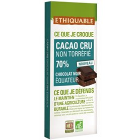 Chocolate Cacao Crudo 70% Bio 80 gr. Ethiquable