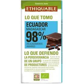 Chocolate Negro Puro 98% Bio 100 gr. Ethiquable