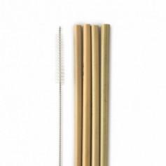 Pajitas Bambú 4 ud + limpiador inox Humble