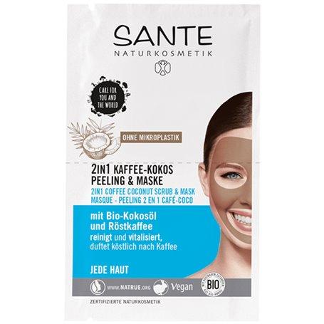 Mascarilla facial Exfoliante 2 en 1 Café y Coco Bio 2x4 ml. Sante