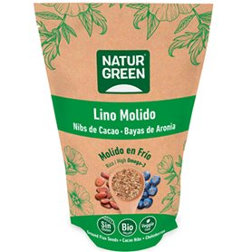 Lino molido nibs Cacao y Aronia Bio 225 gr. NaturGreen