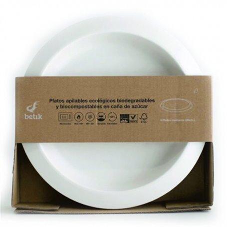 Plato caña azúcar biodegradable 20 cm. 6 ud.