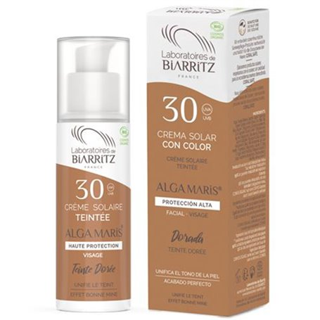 Crema Solar Facial color Dorado SPF30 Bio 50 ml. Alga Maris