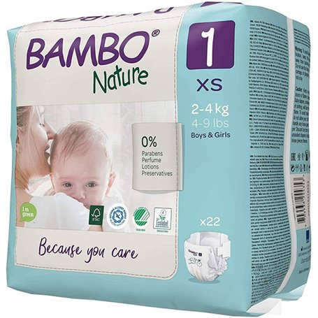 Pañales 2-4 kg. 28 ud. Bambo Nature