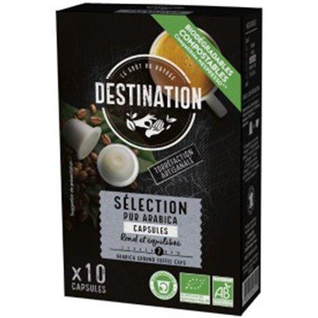 Cápsulas café nespresso biodegradables puro Arábica selección 10 ud. Destination