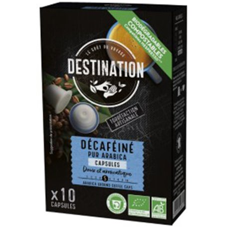 Cápsulas café nespresso biodegradables puro Arábica selección Bio 10 ud. Destination