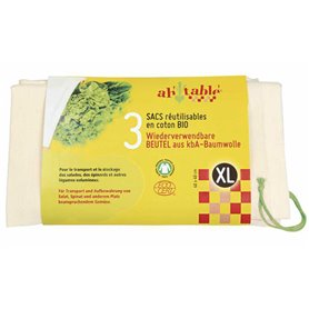 Bolsas XL reutilizables algodón ecológico 3 ud.